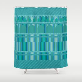 Blue Green Arches and Stripes Pattern Shower Curtain