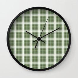 Spring 2017 Designer Color Kale Green Tartan Plaid Check Wall Clock