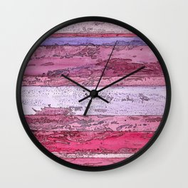 Bands of Red, Pink, and Purple Wall Clock