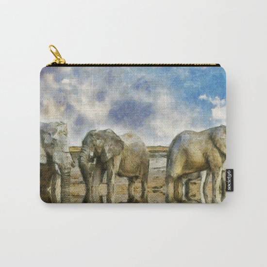 Elephants Drinking Carry-All Pouch