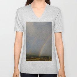 Double Rainbow on the Side Less Traveled Unisex V-Neck