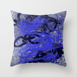 Blue & Gray Abstract Throw Pillow