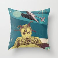 chicken Throw Pillows featuring Chicken by Julia Lillard Art
