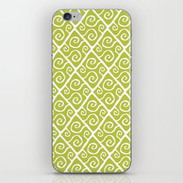 Mid Century Modern Diamond Swirl Pattern Chartreuse iPhone Skin