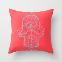 hamsa Throw Pillows featuring Hamsa by Grace Anderson
