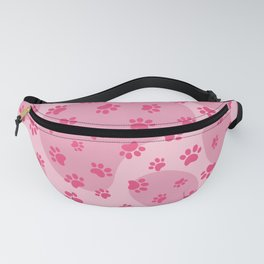 Pink Dog paw pattern. Digital illustration. Fanny Pack