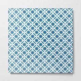 Moroccan Riad Tiles   Blue Pattern Metal Print