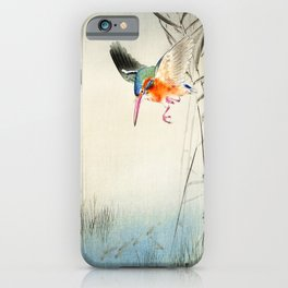 Kingfisher diving for fish - Vintage Japanese Woodblock Print  iPhone Case