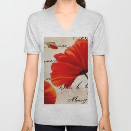 Coquelicots Red Unisex V-Neck