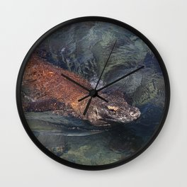 Swimming komodo dragon Wall Clock