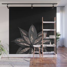 Gray Black Agave with Rose Gold Glitter #1 #shiny #tropical #decor #art #society6 Wall Mural