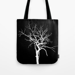 Witchy Tree Silhouette, white on black. Minimal minimalist minimalism Tote Bag