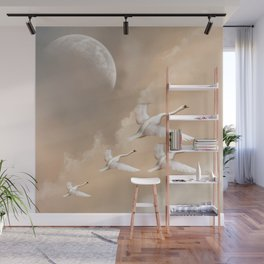 Flying Swans Wall Mural