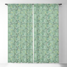 Pattern of pine branches and needles Blackout Curtain
