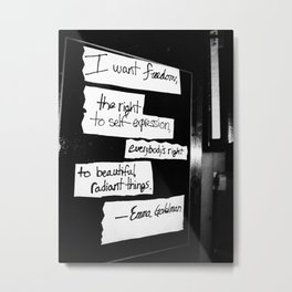 Emma Goldman Black and White Metal Print