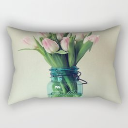 Mason Jar Spring Tulips Rectangular Pillow