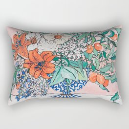 California Summer Bouquet - Oranges and Lily Blossoms in Blue and White Urn Rectangular Pillow