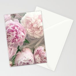 Shabby Chic Pastel Pink Peonies Wall Art - Peonies Home Decor Stationery Cards