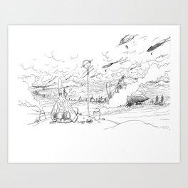 Moebius tribute #1 Art Print