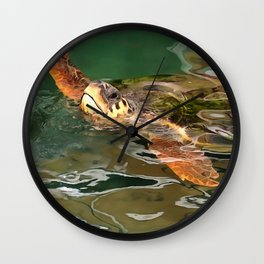 Hands Up For A Plastic Free Ocean Loggerhead Turtle Wall Clock