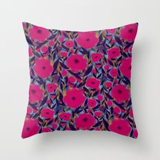 Layered Leaf Floral Fuchsia Throw Pillow
