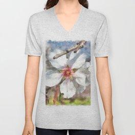 Almond Blossom Study Watercolor Unisex V-Neck