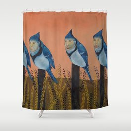 Blue Birds and Barley  Shower Curtain
