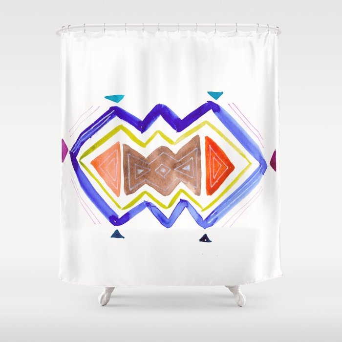 Watercolor Tribal Shower Curtain