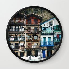 Old buildings in Donibane, Basque country - Travel photography Wall Clock