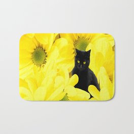 Black Cat Yellow Flowers Spring Mood #decor #society6 #buyart Bath Mat