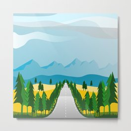 Direct road in the landscape, rows of pines, yellow fields and mountains Metal Print