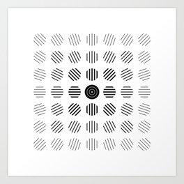 Black and White centered lines Art Print