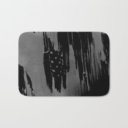 Modern black gray hand painted watercolor pattern Bath Mat