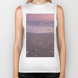 The Beach Of The Shells. Purple sunset Biker Tank