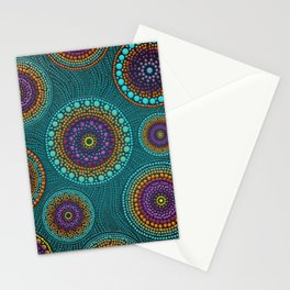 Dot Art Circles Teals and Purples #2 Stationery Cards