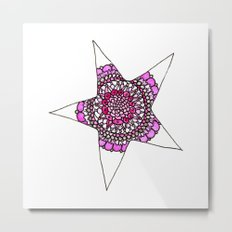 Pink Superstar Mandala Star Metal Print