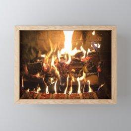 Keeping Warm by the Fire Framed Mini Art Print