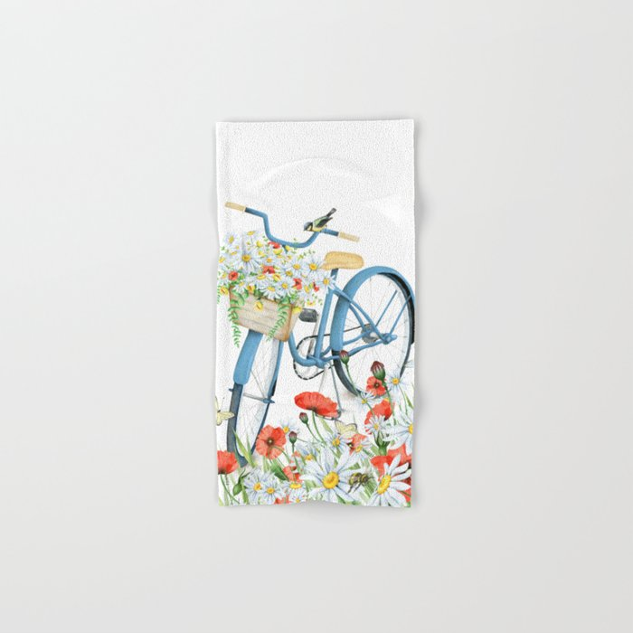 Blue bike & red poppy Hand & Bath Towel