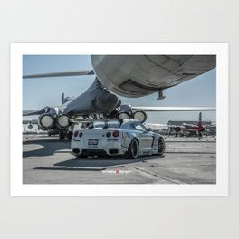 Nissan GT-R R35 LibertyWalk Widebody with Plane Art Print
