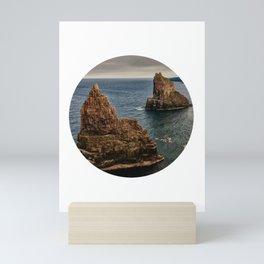 Rocky sea circle photo Mini Art Print