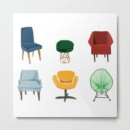 Midcentury Chairs Metal Print