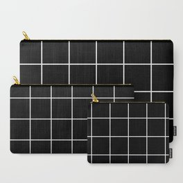 BLACK AND WHITE GRID Carry-All Pouch
