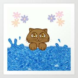 Cute Cat in Bath Tub Art Print