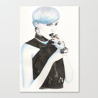 cigarette Canvas Prints featuring Cigarette by Alessandra Castagnolo