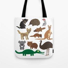 Animals Australia: Echidna Platypus ostrich Emu Tasmanian devil Cockatoo parrot Wombat crocodile Tote Bag