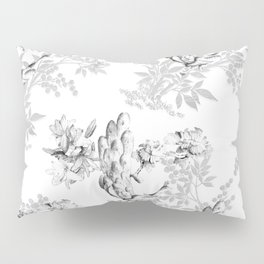 PEACOCK LILY TREE AND LEAF TOILE GRAY AND WHITE PATTERN Pillow Sham