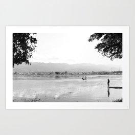 The Fisherman of Inle Lake   Myanmar Travel photography Art Print
