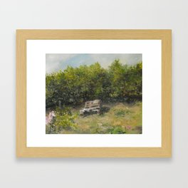 pallets bench in summer  Framed Art Print