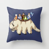 appa Throw Pillows featuring The Gaang by NeleVdM