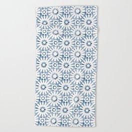 Indigo Moroccan Tile Beach Towel